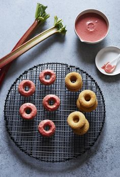 sorghum doughnuts with strawberry-rhubarb glaze (gluten-free, dairy-free) / sassy kitchen Doughnut Pan, Mini Doughnuts, Donut Recipes, Whole Food Recipes, Sorghum Flour, Butter Oil, Thing 1, How To Squeeze Lemons, Summer Treats