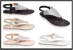 Womens Ladies Diamante T Bar Flat Sandal Beach Shoe Party Sandals Summer Fashion #Unbranded #Sandals #Casual