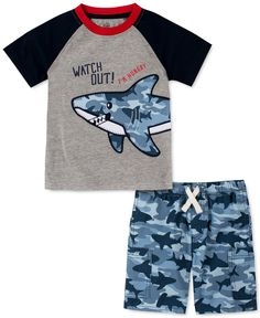 Kids Headquarters Little Boys Colorblocked Shark Applique T-Shirt & Shark-Camo Twill Shorts Set - Assorted Boys Pjs, Boys Pajamas, Camo, Kids Headquarters, Blue Shark, Boys Swimwear, Shark T Shirt, Toddler Boys, Infant Toddler