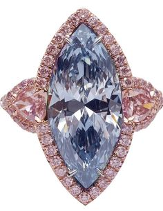 GABRIELLE'S AMAZING FANTASY CLOSET | 3.83 Carat Fancy Intense Blue Marquise Diamond Platinum Ring