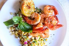 Lemon Shrimp with Basil-Corn SaladDelish