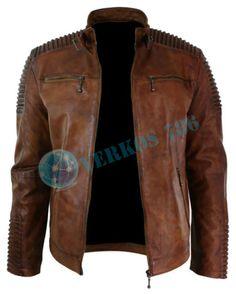 Men's vintage Biker motorcycle distressed brown cafe racer leather jacket