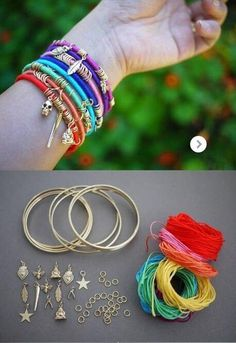 cute and easy way to create a DIY bangle bracelet! Summer Bracelets, Colorful Bracelets, Bangle Bracelets, Bangles, Diy Bracelet, Cute Jewelry, Jewelry Crafts, Jewelry Ideas, Clothes Crafts