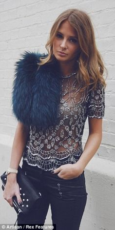Millie Mackintosh- Love her style! Blue fur, beautiful jewelled top, leather river island jeans and clutch