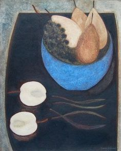 Still Life with Blue Fruit Bowl by Vivienne Williams, 2014, Mixed media