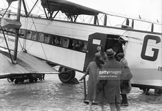 Passengers boarding a plane at Paris Le Bourget airport, in May 1929 in Paris, France.