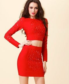 7c7d1cceb7c Ariel beaded bandage 2 piece dress (5 colors) Sleeve Dresses