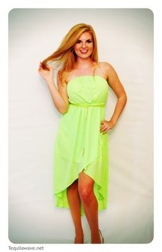 This dress is fun, flowy, light-weight and most definitely eye catching! $44.50 #Tequilawave #Fashion #Beauty #Tulip Dress #High Low #Tube #Neon #USA #Support our Troops