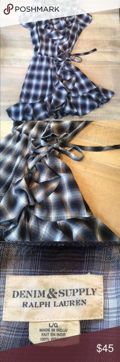 Denim & Supply Wrap Dress by Ralph Lauren Size L Denim & Supply Wrap and Ruffle Dress by Ralph Lauren Size Large. So very gently worn. This dress is stunning! Pictures could not portray the amazingness of it! So cute worn alone or layered with blue jeans, tights, long sleeve shirt. This is so versatile! Denim & Supply Ralph Lauren Dresses Mini