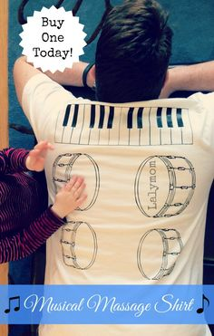 Musical Back Massage Shirt: A Musical Massage from Your Kids! - Buy it or DIY it! This is officially a Dad-approved gift! Encourages quality time together and lots of fun too! #DIYGifts #CreativeMamas #KBN #ForDad #FathersDay