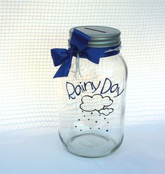 "Rainy Day Fund Jar - Quart size mason jar with coin slot lid and ""Rainy Day"" vinyl decal"