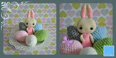 Handmade felt crochet  wielkanocny króliczek i jajka