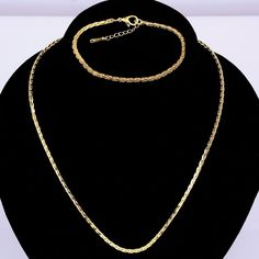 18K Gold Filled Rolling Chain Link Womens Mens Necklace Bracelet Jewelry Sets #xinyantop