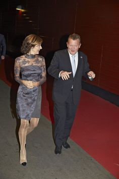 Countess Alexandra having a chat with politician, Lars Løkke Rasmussen.