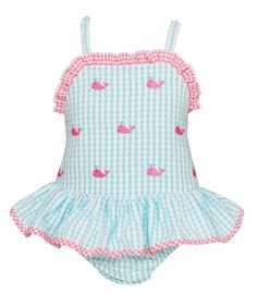 Anavini Baby / Toddler Girls Turquoise Gingham Embroidered Pink Whales Ruffle Swimsuit - One Piece Baby Girl Swimsuit, Ruffle Swimsuit, My Baby Girl, Baby Girls, Swimsuit Edition, Dog Blanket, Fabric Gifts, Mini Sessions, Toot