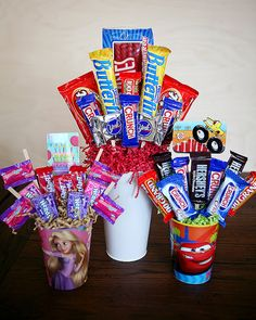 DIY:: Candy Bouquets ~  You can cater these to men, women and children of all ages, for ANY occasion. They also make a really fun way to give a gift card!  Need: -cup -floral foam -low temp glue gun -skinny sticks -candy -crinkled paper shreds -gift card (optional).  How To @: http://eighteen25.blogspot.com/2012/03/birthday-week-candy-bouquets.html