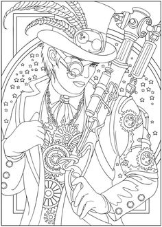 coloring pages - steampunk! from Dover Publications Coloring Book Pages, Printable Coloring Pages, Coloring Sheets, Colorful Drawings, Colorful Pictures, Printable Halloween, Zentangle, Steampunk Design, Steampunk Images