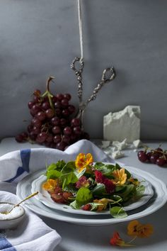 A Spring salad with spinach and nasturtium from the Beekman 1802 Heirloom Recipe Cookbook