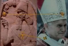Catholic Pope, wearing the same emblems as the Babylonian Deity. That\'s why false religion is referred to in the Bible as \