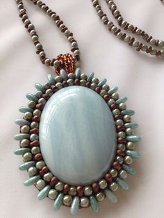 Blue Calcite Bead Embroidery Necklace by GlazeRanchJewelry on Etsy, $115.00