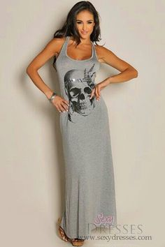 Sleeveless Grey Native Skull Maxi Dress This is the frikin cutest dress ever! Sexy Outfits, Sexy Dresses, Cute Dresses, Cool Outfits, Fashion Outfits, Summer Dresses, Womens Fashion, Skater Outfits, Disney Outfits