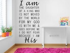 I Am The Daughter Of A King Vinyl Wall Decal, Custom Wall Decal, Create Your Own Decal, Girl Bedroom Decal, Girl's Decals