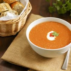 Red lentil soup - warm, comforting and with a hint of chilli