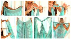 Beach Cover Up using a scarf.  -- cute color but I'd do something a little less see thru lol