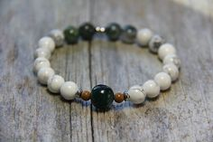 bracelet by Wanderbird. A portion of the proceeds goes to the Kingston 4 Paws Academy to help train service dogs for PTSD, autism and anxiety. Train Service, Service Dogs, Dog Organization, Family Deal, Mental Health Services, Make A Person, Moss Agate, Ptsd, Kingston