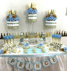 little prince baby shower candy buffet diaper cake centerpiece with baby shower favors boys baby
