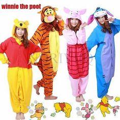 Adult Cartoon Onesie Bear Kigurumi Costume Tigger Pajamas Cosplay Owl Pyjamas…