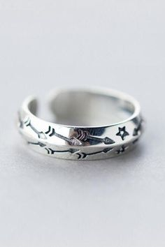 Sterling silver ring, star Ring opening, adjustable (1898)