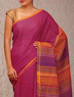 Magenta Block-Print Cotton Saree