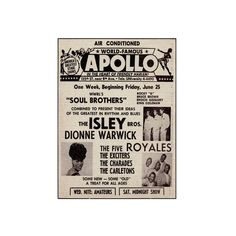 Apollo Theatre Ad: Soul Brothers, Isley Brothers, Dionne Warwick, Five... ($30) ❤ liked on Polyvore featuring home, home decor, wall art, music home decor, interior wall decor, music wall art and mounted wall art