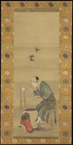 Woman Spinning Silk  Katsushika Hokusai  (Japanese, 1760–1849)  Period: Edo period (1615–1868) Date: dated 1790 Culture: Japan Medium: Hanging scroll; ink and color on silk