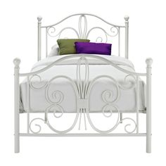 Twin White Metal Platform Bed Frame with Headboard and Footboard - Quality House