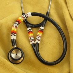 Native American White Beaded Stethoscope