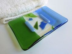 Fused Glass Soap Dish in Sky Blue and Light Green