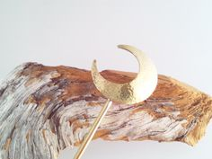 "Japanese Hair Stick ""Kanzashi"" Crescent Moon ""簪""/ Brass Hair Stick"