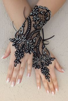 FREE SHIP black Wedding gloves, silver beads embroidered  gothic lace Party gloves, bridal gloves fingerless gloves Halloween costume