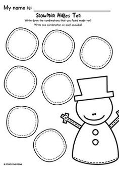 Snowman Makes Ten - Math Center Game for Early Number Learning Numbers, Math Numbers, Numbers Preschool, Math Rotations, Math Centers, Numeracy, Making Ten, Kindergarten Activities, Group Activities
