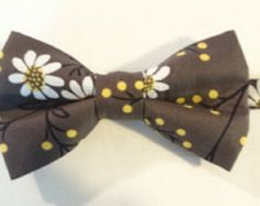 Pre-Tied Bow Tie in Dark Gray with White Daisies Adult and Children Sizes by HouseOfJdawn on Etsy