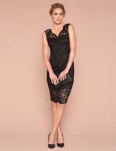 Lace V-Neck Cocktail Dress - Intricate lace adorns this figure-flattering dress designed with an alluring V-neck. Figure Flattering Dresses, V Neck Cocktail Dress, Designer Dresses, Sexy, Cocktails, Formal Dresses, Chic, Lace, Womens Fashion