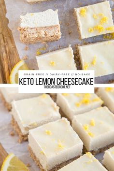 Low-Carb No-Bake Lemon Cheesecake Bars - Deliciously creamy Keto Lemon Cheesecake made grain-free, dairy-free and sugar-free for a low-carb dessert #recipe #lowcarb #keto #cheesecake #no-bake