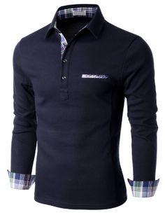 Doublju Men's Long Sleeve Jersey Polo T-shirt with Check Neck Band (KMTTL0141) #doublju
