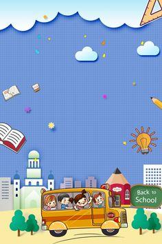 School season school starting school student back to school Simple Background Images, Book Background, Poster Background Design, Cartoon Background, Background Templates, Cartoon School Bus, Student Cartoon, Back To School Images, School Murals