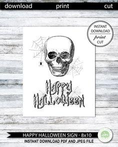Halloween Prints, Halloween Signs, Halloween Skull, Halloween Horror, Happy Halloween, Snowflake Invitations, Halloween Printable, Skull Print, Happy Birthday Banners