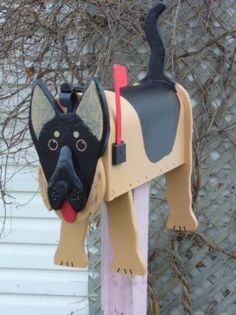 Woodworking For Sale | German Shepherd mailbox | ArtsyHome