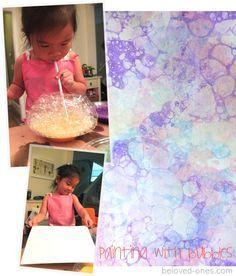 Watercolor Wall Art: du liquide vaisselle + de l'eau + peinture + une paille ==> souffler et creer des bulles dans le bol, appliquer le papier!(en anglais)