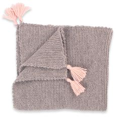 Granny's knitwear - Grey and pink baby plaid made from alpaca wool ...
